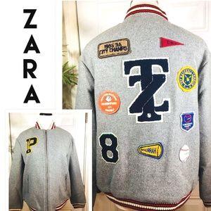 Women's Zara Gray Wool Blend PATCHES Bomber Jacket